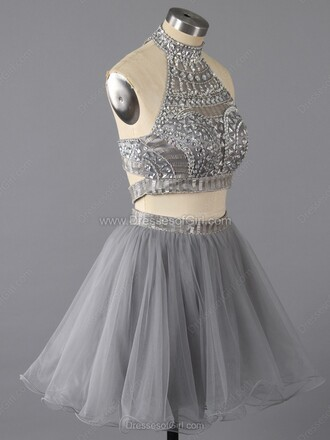 dress silver grey prom two piece dress set sparkle homecoming dress fashion tulle dress dressofgirl