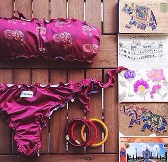 swimwear elephants bikini bandeau bikini boho indie indie bikini fashion cute love new summer hot boho bikini bandeau pink bandeau bikini indie bag pink bandeau swimsuit