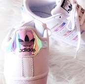 shoes,adidas superstar silver stripes.,adidas,shiny,holographic,grumge,cute,pastel,japan,stripes,90s style,low top sneakers,adidas superstars,white sneakers