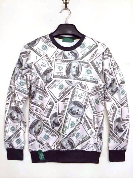 black sweater white cotton money print money sweatshirt diamond diamonds crewneck