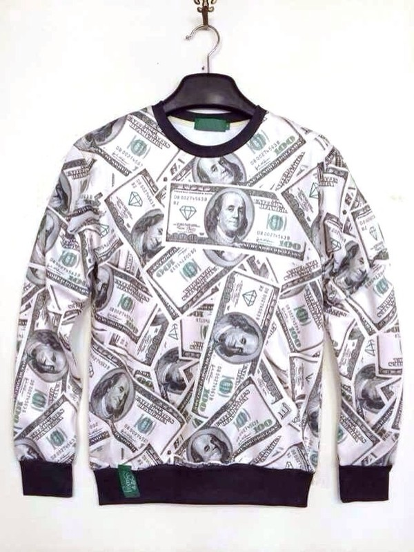 sweater black white money money sweatshirt cotton diamonds diamonds crewneck