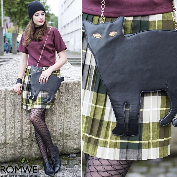 ROMWE | Cat Shaped Rivet Black Bag, The Latest Street Fashion