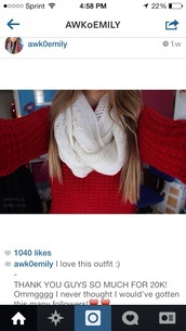 scarf,lace white,red,cute,sweater