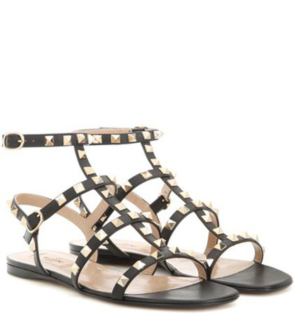 Valentino Rockstud Leather Sandals in black