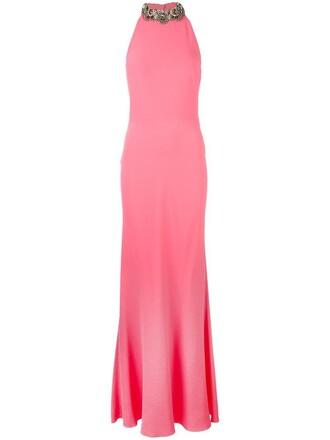 gown women plastic embellished silk purple pink dress