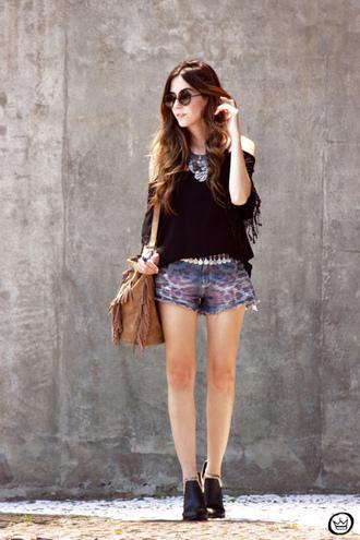 fashion coolture blogger animal print denim shorts cut-out shoulder top fringed bag round sunglasses