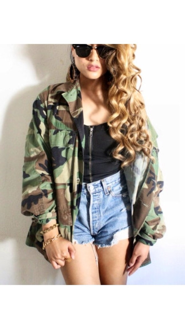jacket camouflage camo jacket jeans camouflage coat hipster army green jacket tumblr instagram