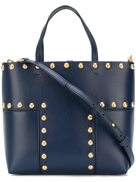Tory Burch - small Block T tote bag - women - Leather - One Size, Blue, Leather
