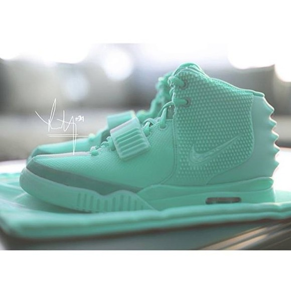 shoes sneakers mens shoes air yeezy 2 mint sneakers kanye west mint nike yeezy aqua