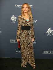 dress,belt,animal print,nicole richie,maxi dress,long sleeve dress,wrap dress