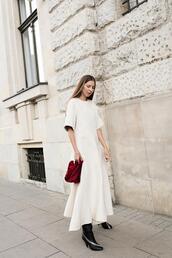 oliviakijo,blogger,dress,bag,shoes,white dress,maxi dress,white maxi dress