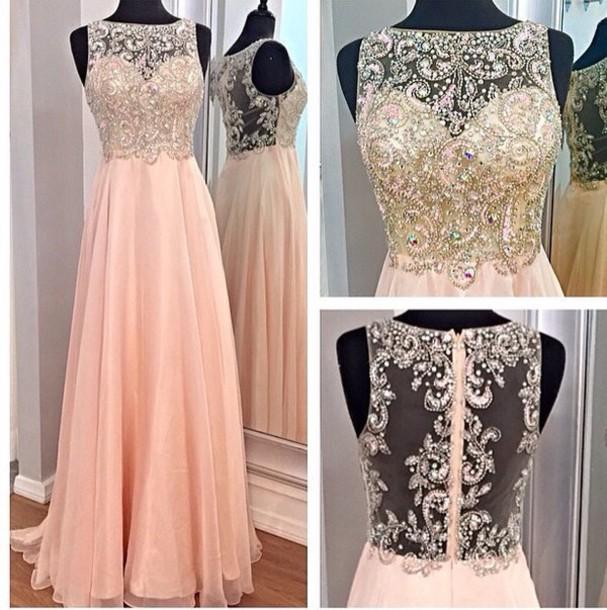 prom dress, beaded, dress, long prom dress, salmon, lacy, vintage ...