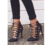 shoes,black,ribbon,lace up heels,court shoes,black heels,lace up,black lace up heels,high heels,strappy,strappy heels,all black everything,pointed toe,black pointed heels