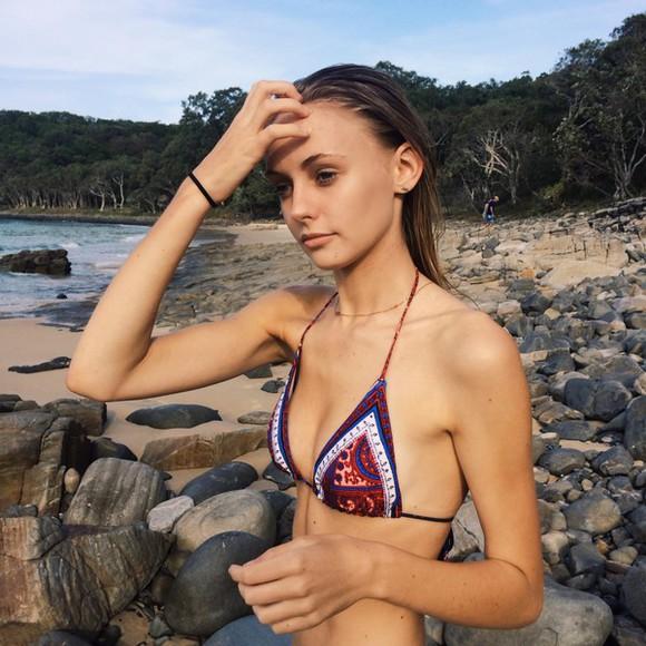 print swimwear boho hipster indie aztec model bikini indie boho beautiful swimsuit