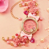 jewels,girly,jewelry,gold,pink,watch,bows,flowers,floral