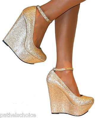 KOI COUTURE GOLD GLITTER SHIMMER PLATFORM WEDGE SHOES ANKLE STRAPPY HIGH HEELS