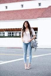 mint arrow,blogger,bag,dress,t-shirt,shoes,shoulder bag,grey bag,skinny jeans,valentino rockstud,pumps,spring outfits