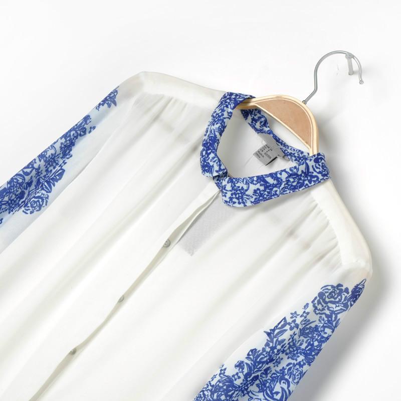 white and blue porcelain print chiffon blouse sheinside com