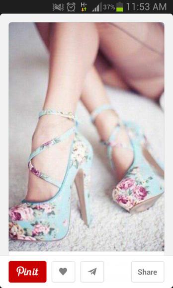 straps floral high heels platform shoes
