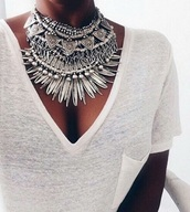 jewels,big necklace,silver,indian style