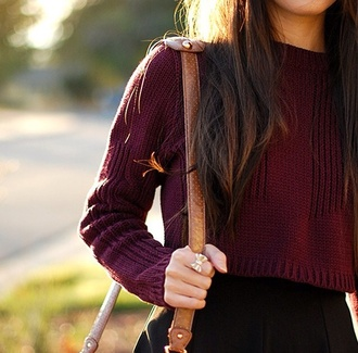 sweater burgundy sweater cropped sweater crop tops bow ring fall outfits brown bag