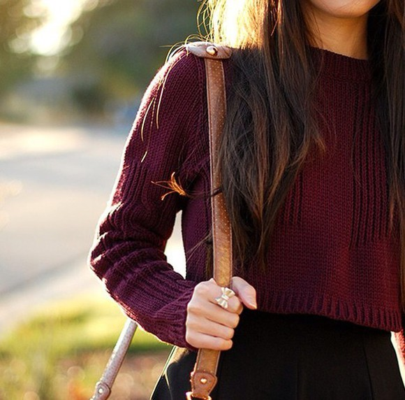 brown bag sweater burgundy sweater cropped sweater crop tops bow ring fall outfits