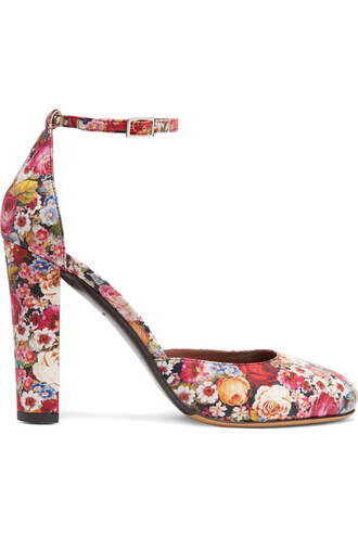 pumps floral leather print red shoes