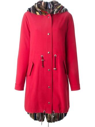 parka fur women red coat