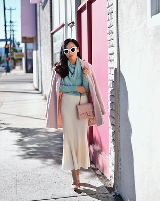 hallie daily blogger skirt bag sunglasses jewels shoes sweater jacket midi skirt blue sweater pink coat pink bag chanel