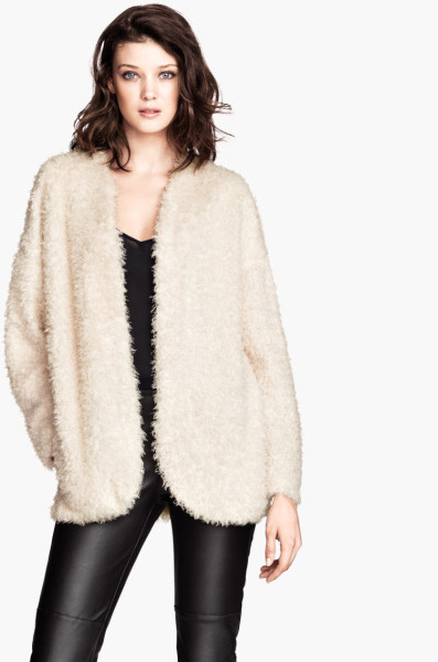 H&m fluffy cardigan in white