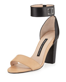 Katrin Two-Tone Turn-Lock Ankle-Wrap Sandal, Nude/Black