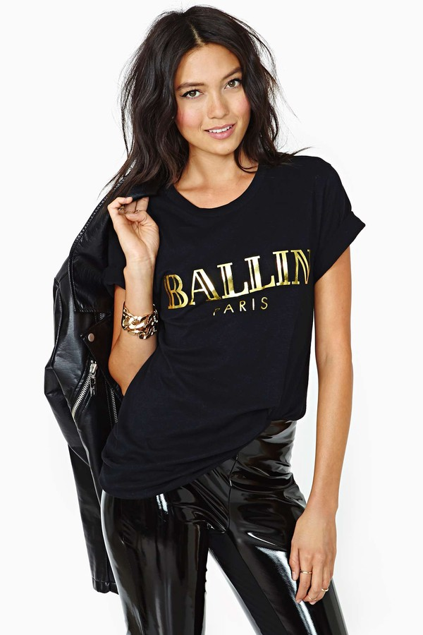 t-shirt alex & chloe ballin paris paris leather pants black leather pants nastygal black gold leather jacket