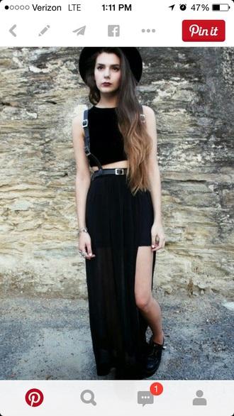 skirt black long sheer belt