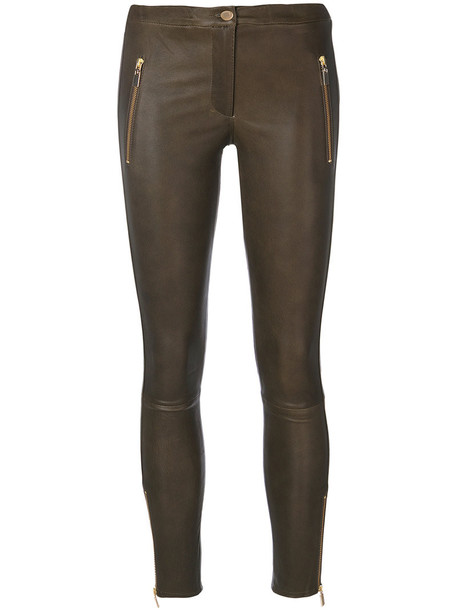 Arma women spandex leather cotton green pants
