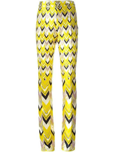 GIAMBATTISTA VALLI jacquard chevron yellow orange pants