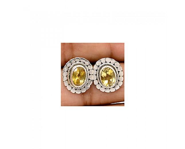 Unique 925 sterling silver Gemstone Citrine Stud
