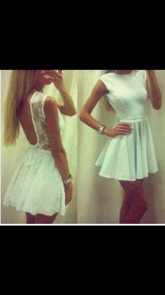 dress white dress lace dress backless dress