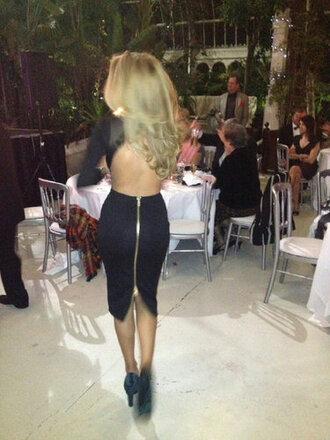 zip zipped dress backless dress club dress sexy dress backless bodycon dress black dress bodycon party dress