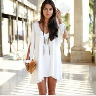 dress blouse white dress mini dress flowlydress long sleeve dress