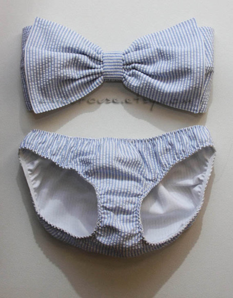 swimwear blue and white striped bow top, two piece bikini bow blue stripes swimming cozzys tripes vintage old school white bows plad polkadots light blue
