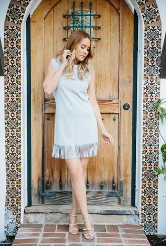lauren conrad blogger light blue blue dress suede dress fringed dress nude heels
