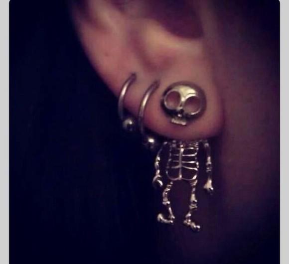 earrings earphones Skull Body Jewelry earring piercing skull piercings jewels