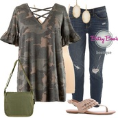 blouse,camouflage,jeans,shoes,tank top,outfit,outfit idea,earrings,women,clothes,fashion