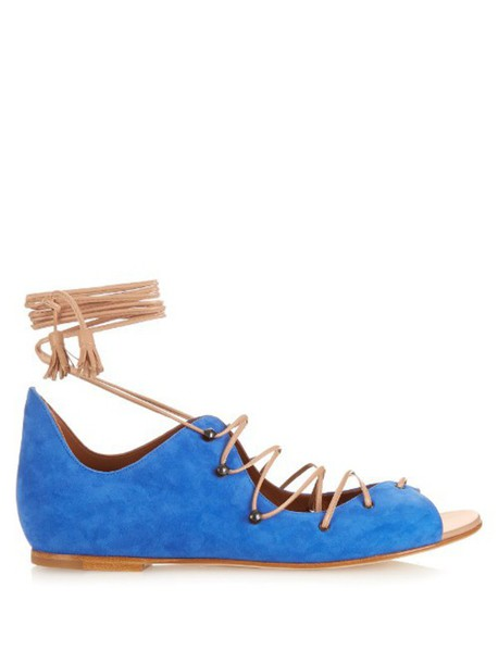 MALONE SOULIERS sandals leather sandals lace leather suede blue shoes
