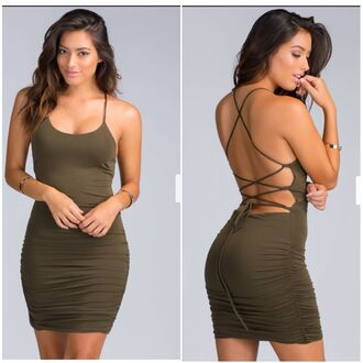dress bodycon dress olive green open back classy hot sexy dress sexy