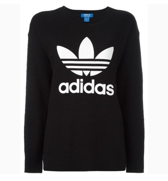 sweater adidas wool black logo oversized