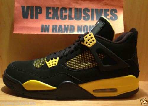 Nike Air Jordan Retro 4 IV Thunder 2012 Black Yellow in Hand Now Pics Below | eBay
