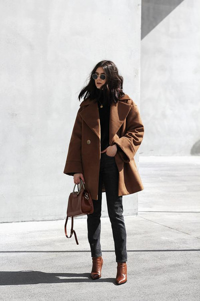 holy nights blogger coat sweater bag handbag brown coat ankle boots spring outfits