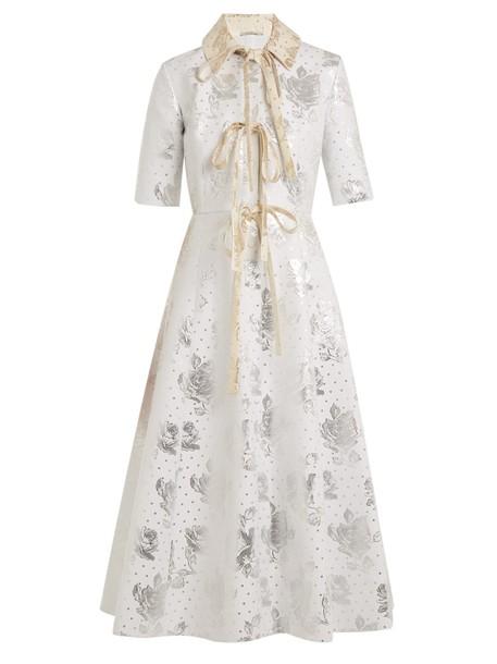 EMILIA WICKSTEAD dress floral cotton silver white