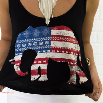 top american flag graphic top red white and blue amazinglace black tank top patriotic elephant